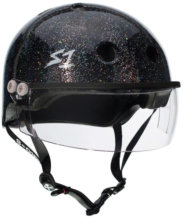 s1 Lifer Visor Roller Derby Helmet Black Gloss Glitter