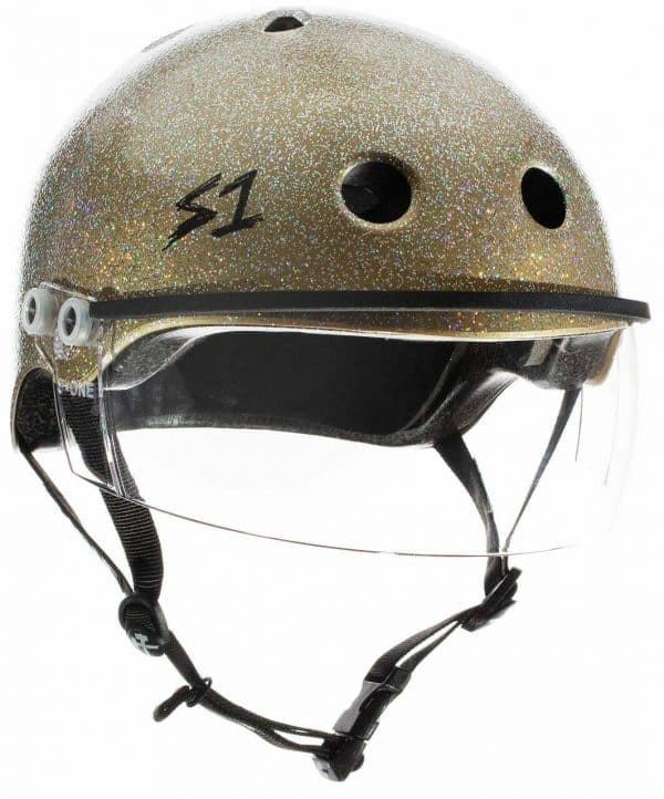 s1 Lifer Visor Roller Derby Helmet Gold Glitter 2