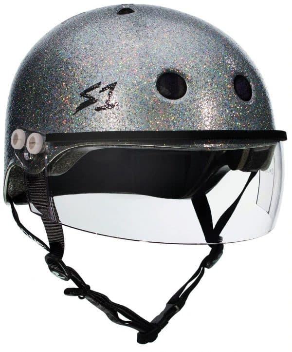 s1 Lifer Visor Roller Derby Helmet Silver Glitter