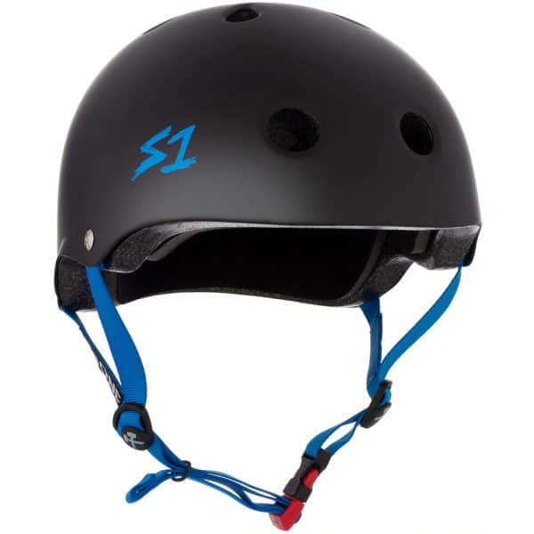 S-One Helmet Mini Lifer (XS) Black Matte/Cyan Straps