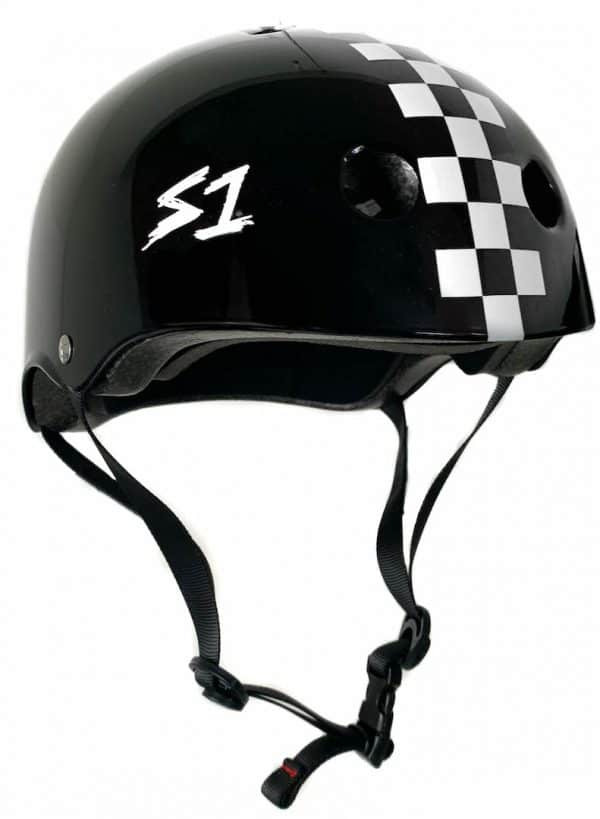 S1 Lifer Certified Helmet Black Gloss White Checkers