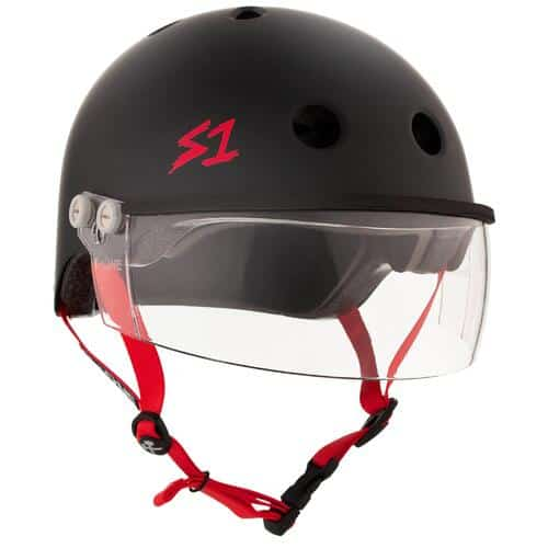 S-One Helmet Lifer Visor (XS) Black Matte/Red Straps